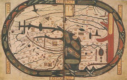 Mapa Mundi de Beato de Liébana. O mapa está orientado a Este e não a Norte, em contraste com os da cartografia moderna. Diz-se, portanto, que o mapa está orientado.