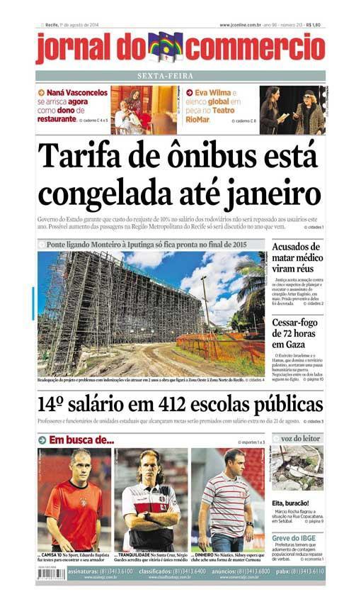 Capa do Jornal - 01/08/2014