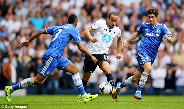 On the attack: Andros Townsend darts between Ashley Cole (left) and Oscar at White Hart Lane