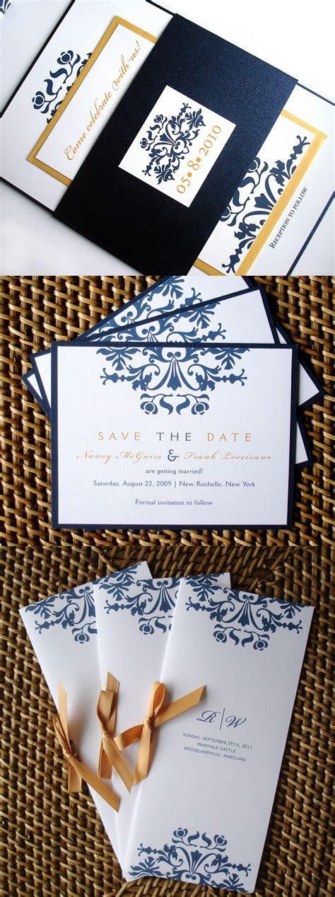 Navy Blue Wedding Invitation set, Elegant wedding