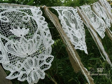 shabby wedding ribbon garland burlap banner vintage lace