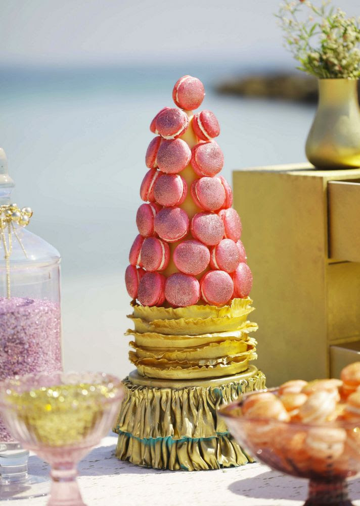 glitter is gold macaron tower