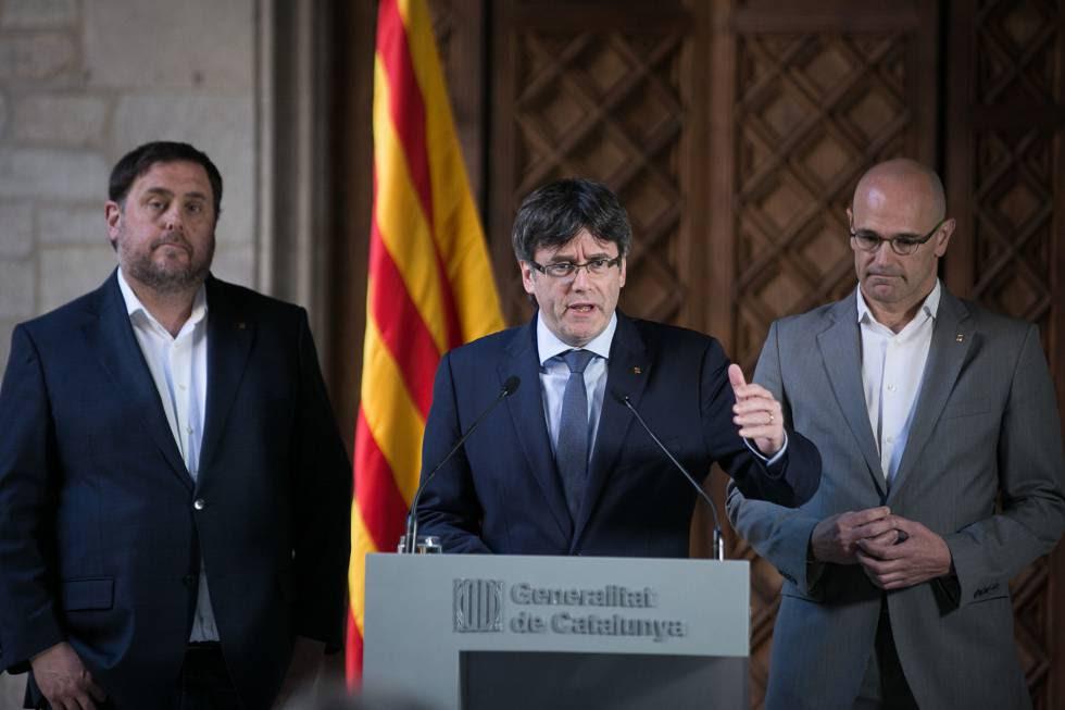 Oriol Junqueras, Carles Puigdemont y Raül Romeva.