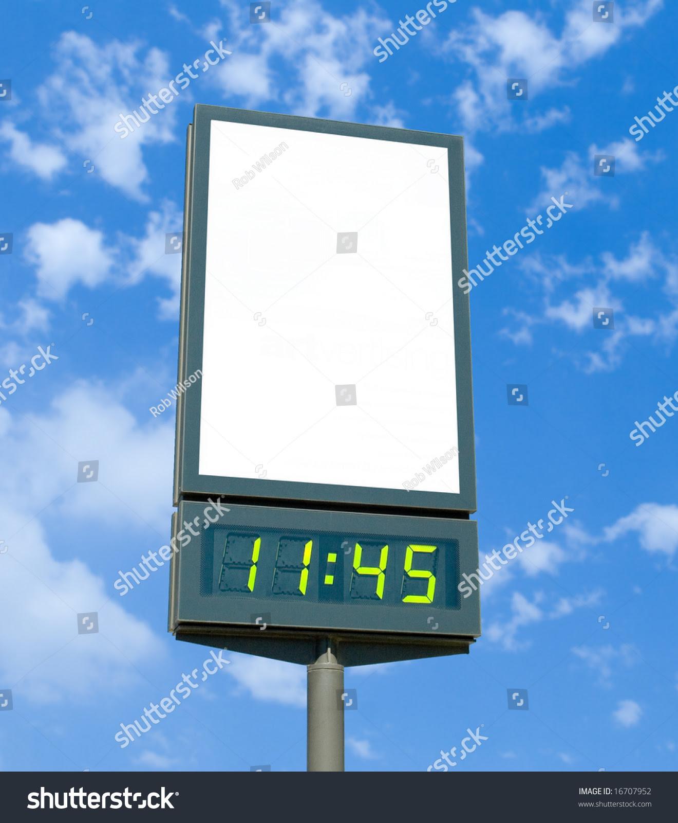 Blank Billboard Digital Clock Stock Photo 16707952 - Shutterstock