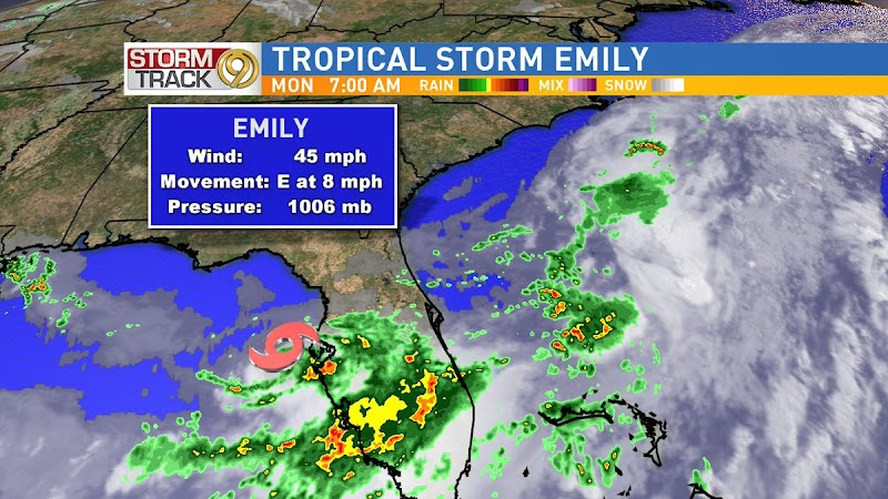 @TampaBayLover : RT @bn9weather: Juli Marquez: Tropical Storm #Emily is in the eastern Gulf of Mexico about 45 miles WSW of #Tampa. Tropical Storm W… https://t.co/NjRyuFw3QX