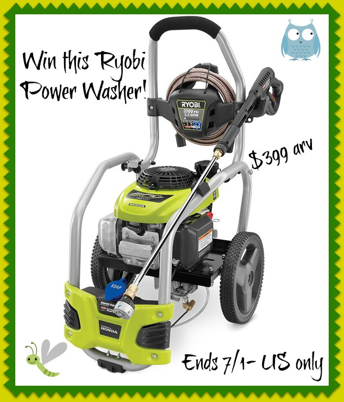 Enter to win a $399 Ryobi Pressure Washer. {US, 18+, 7/1}