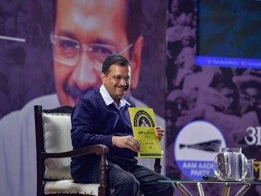 Delhi chief minister Arvind Kejriwal presents 'AAP Ka Report Card', a report card of the work done by the Delhi government in five years. PTI