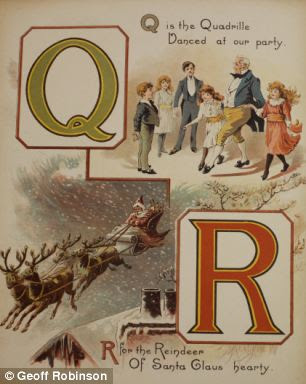 This page shows a family is dancing a Quadrille, a square dance usually performed by four couples, and Santa flying over homes with his Reindeer