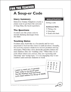 Math Mystery A Soup Er Code Solving A Code Printable Skills