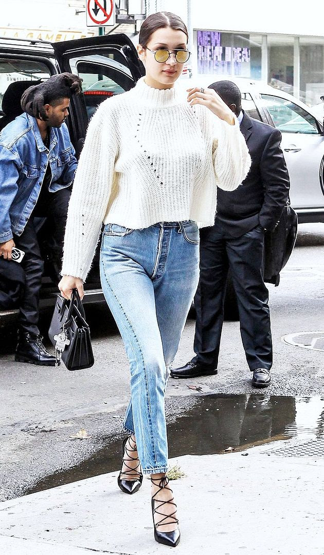 Le Fashion Blog Model Bella Hadid Boyfriend The Weeknd Style Mirrored Round Sunglasses White Sweater Vintage Levis Denim Black Lace Up Pumps Via Just Jared