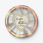 Gold & Faux Diamond & Rose Wedding or Anniversary 7 Inch Paper Plate