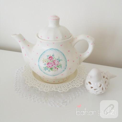 Vintage çaydanlık Kağıt Dekupaj Ve Boyama 10marifetorg