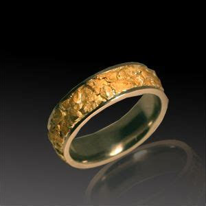 White Gold and Natural Gold Nugget Men's Wedding Band