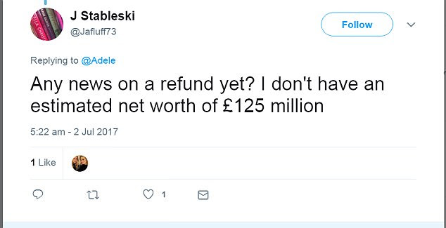 J Stableski said sarcastically that a refund mattered to him because he doesn't have an estimated net worth of £125m - unlike the Grammy winner