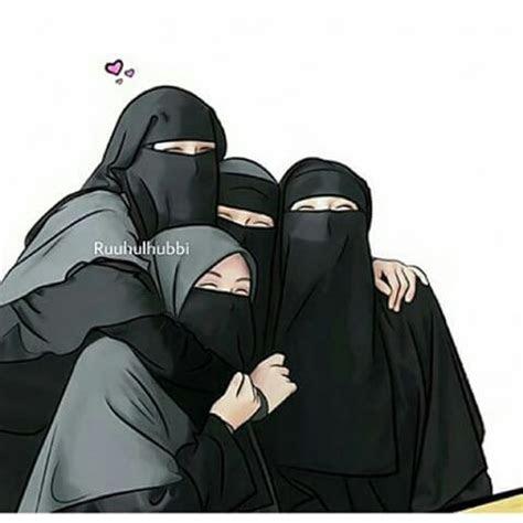gambar kartun muslimah bercadar bersama teman kartun