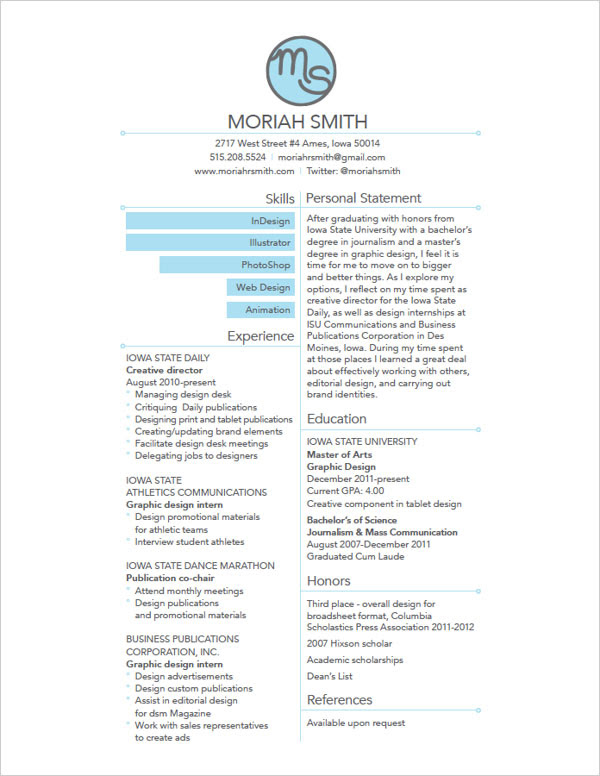 25 Best Simple Creative Resume Best Resume Examples