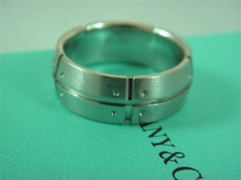 tiffany  mens wedding band ring solid  white gold