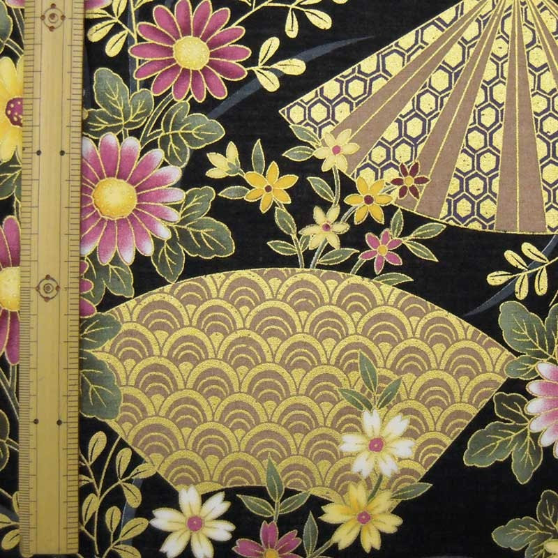 Japanese kimono cotton fabric flower printed half yard