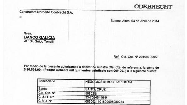 Factura de Odebrecht para el pago a la inmobiliaria de los Kirchner.