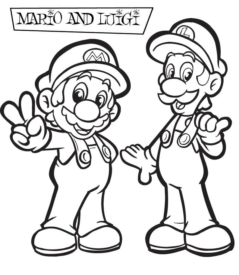 Mario Coloring pages - Black and white super Mario ...