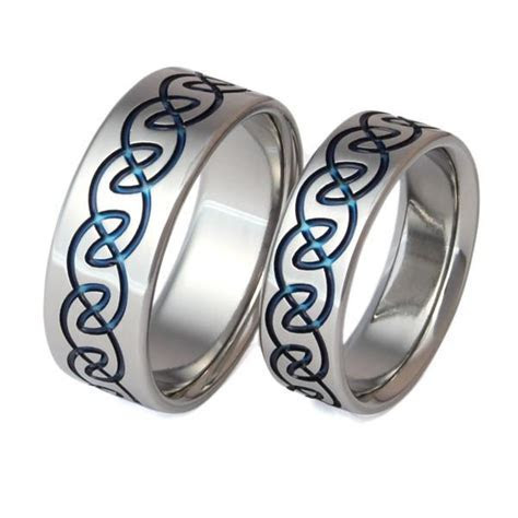 Matching Celtic Titanium Wedding Band Set   stck10