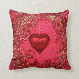 Heart Ornaments in a Beaded Wreath Pillow