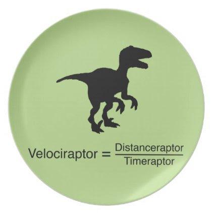 velociraptor funny science melamine plate
