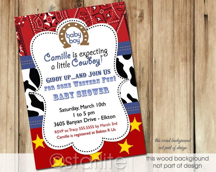 Western Theme Baby Shower Invitations