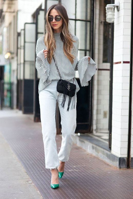 Le Fashion Blog Blogger Style Mirrored Sunglasses Striped Blouse With Bell Sleeves Mini Crossbody Saint Laurent Bag Light Wash Jeans Green Heels Via Something Navy