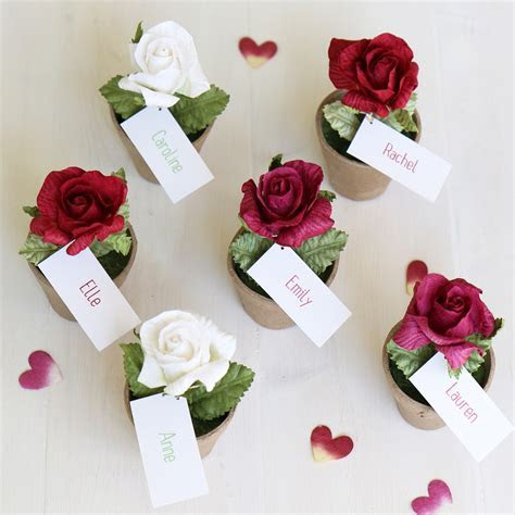 Rose Favour, Name Place Card & Table Decoration   Personalised