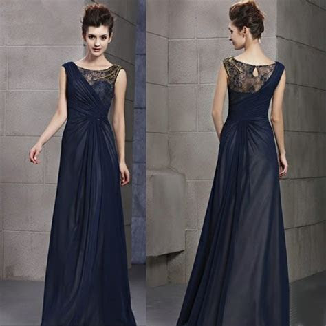 Midnight Blue Sleeveless Formal Evening Gowns Special