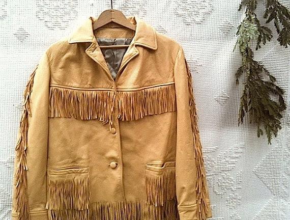 Winter Trip luxe golden cowgirl Rustic prairie vintage  soft deerskin fringe honey butter mountain forest leather gypsy boho jacket - kateblossom