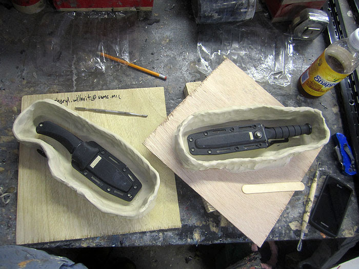 knives prepped for molding