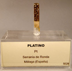 Muestra de platino procedente de la Serranía de Ronda (Málaga), recogida por Orueta y conservada en las colecciones del Museo Geominero (IGME, Madrid).