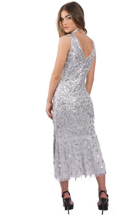 silver grey floral sequin fishtail midi prom evening dress