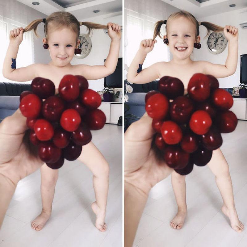 Mãe veste a filha com flores e comida usando a perspectiva forçada e conquista a internet 28