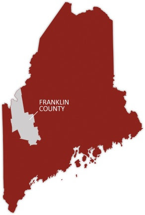 Location of Franklin County in the southwest corner of Maine