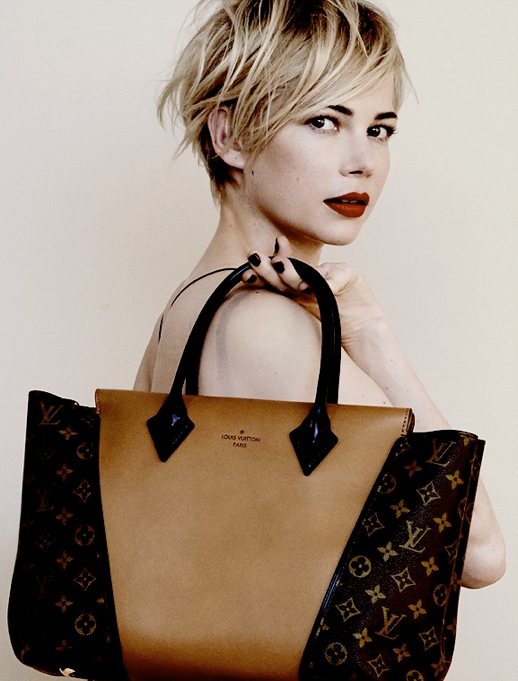 LE FASHION BLOG MICHELLE WILLIAMS LOUIS VUITTON HANDBAG CAMPAIGN SHORT HAIR PIECEY HAIR DARK BOLD EYE BROWS DEEP RED LIPS LIPSTICK DARK BURGUNDY BLACK NAILS NAIL POLISH SLEEVELESS TANK SKINNY STRAP TOP THE W BAG MONOGRAM CANVAS BAG CAPUCINES TOTE BAG PHOTOGRAPHER PETER LINDBERGH HAIR SAM MCKNIGHT MAKE UP STEPHANE MARAIS STYLING JACOB K 1 photo LEFASHIONBLOGMICHELLEWILLIAMSLOUISVUITTON1.png