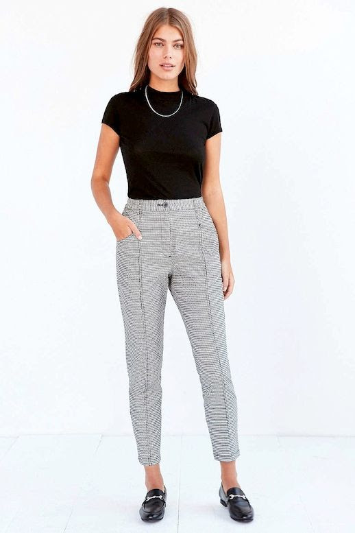 Le Fashion Blog Black Knit Necklace Checkered Print Pants Loafers Via UO