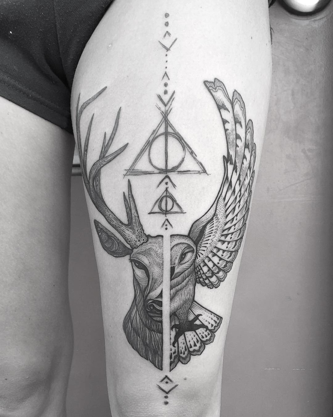 Left Thigh Half Deer And Half Owl Tattoo