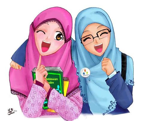 gambar wanita hijab cantik kartun tutorial hijab terbaru