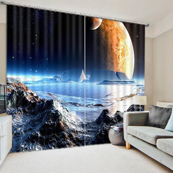 The Surface of the Moon Print 3D Blackout Curtain