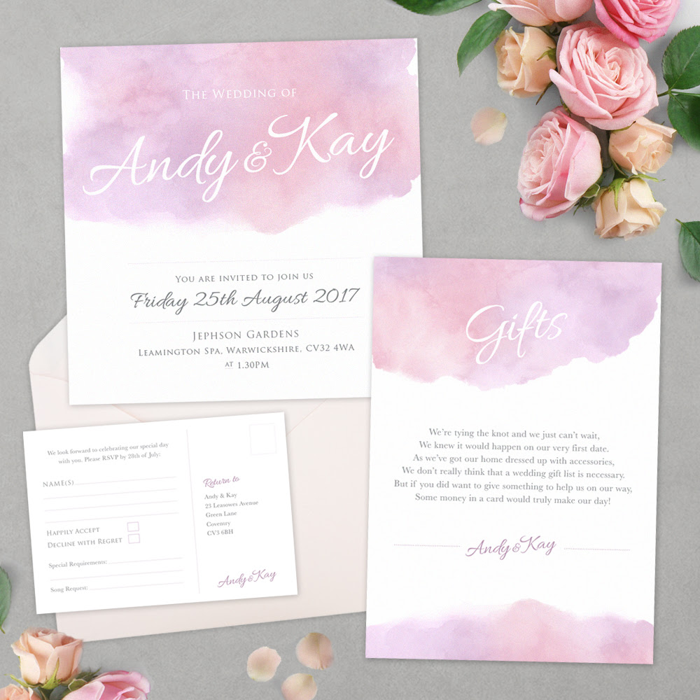 Pastel Watercolour Wedding Stationary Styled