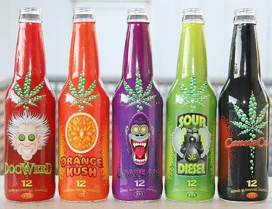 Garrafas do refrigerante de maconha que serão vendidas a partir de fevereiro nos EUA