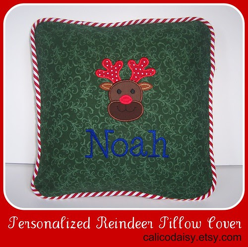 Reindeer applique personalized pillow cover - frame