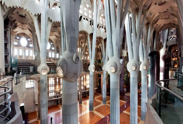 A view of the Temple Sagrada Família's central nave...whose completion allowed Pope Benedict XVI to consecrate the church in November of 2010.