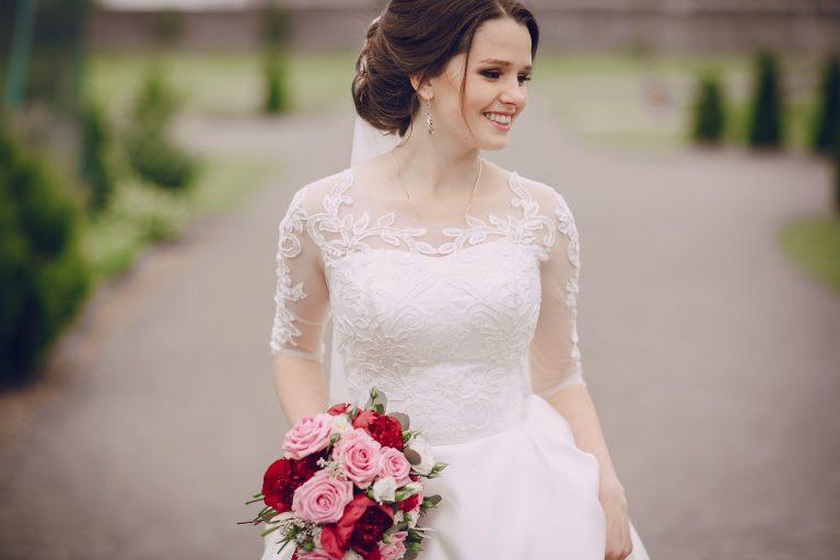 happy beautiful bride on her wedding enjoying this moment