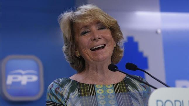 Esperanza Aguirre, en su rueda de prensa de valoración del 24-M, este miércoles, 26 de mayo.