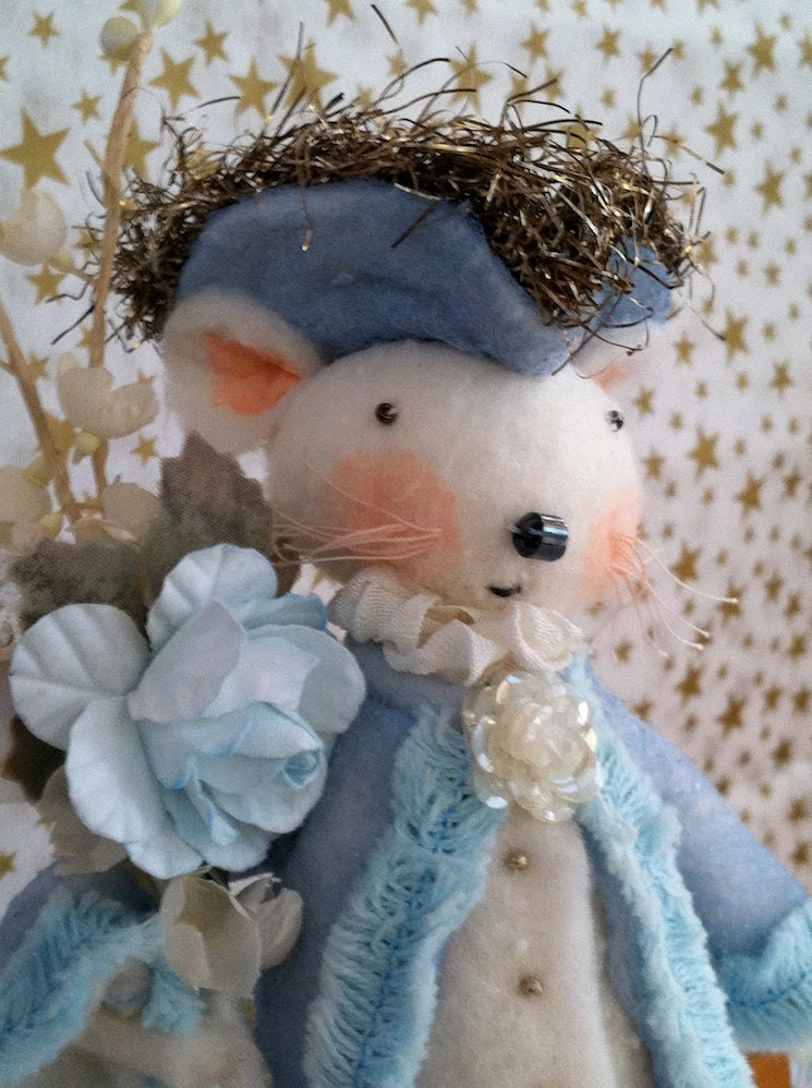 Cotton Batting Pirate Mouse Ornament in Blue