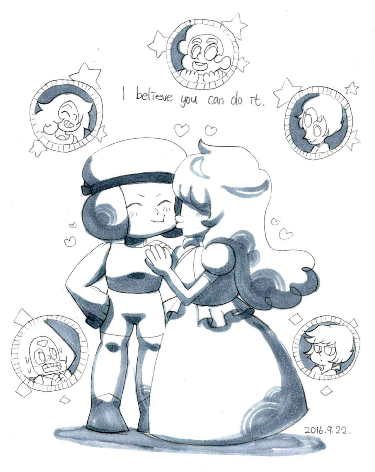 Steven Universe - Doodle Try to find what kind of the style when I draw SU. 畫了喜歡的橋段,Connie好像是第一次畫呢;最喜歡的是Rose媽咪那張的氣氛,雖然微笑的時候我都會畫眼睛瞇起來的樣子QQRuby and Sapphire就是要放閃下~看到Lapis和Peridot好到可以一起跳舞,為他們感到高興~